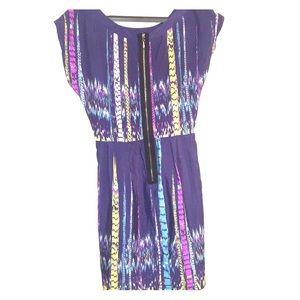BeBop Dresses - Bebop stripe watercolor fit and flare dress